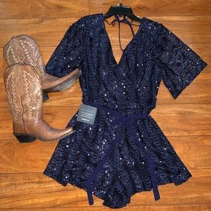 Navy Sequin Romper NWT large
